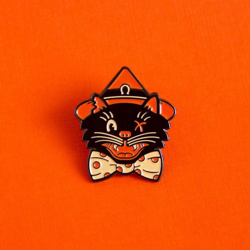 Halloween Cat Witch Enamel Pin image 0