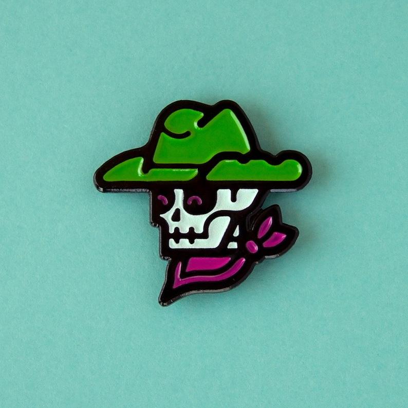 Skeleton Cowboy Enamel Pin Glow-in-the-Dark image 0