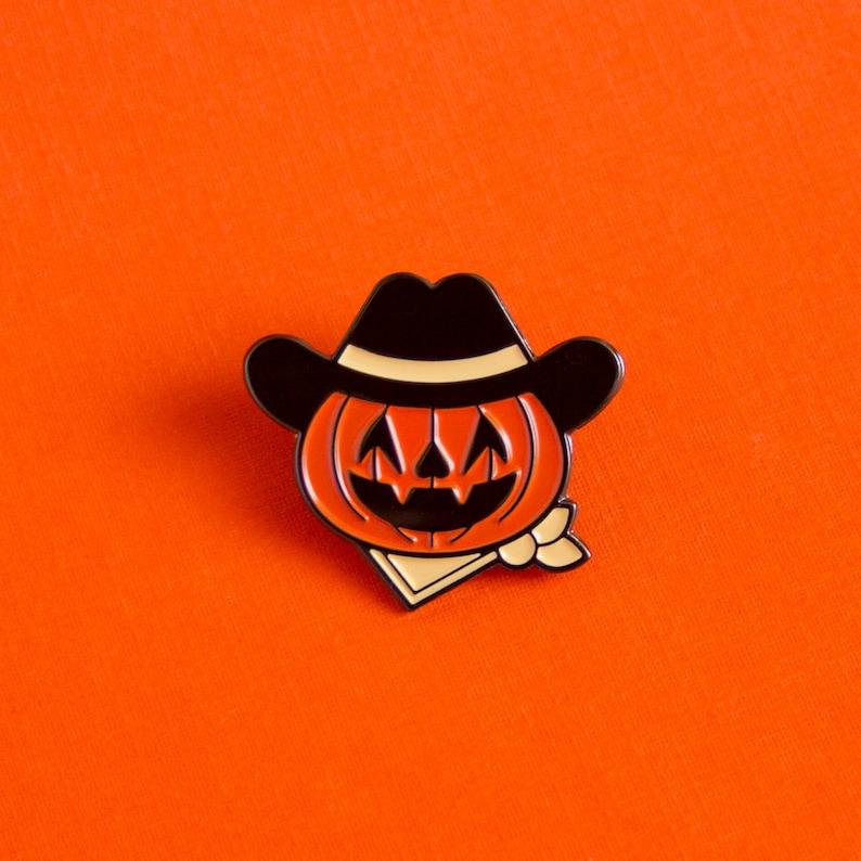 Halloween Jack-o-Lantern Cowboy Enamel Pin image 0
