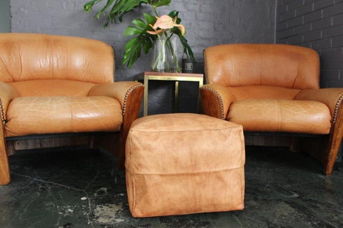 Set of 2 Moroccan pouf, ottoman pouf ,leather pouf,handmade pouf footstool