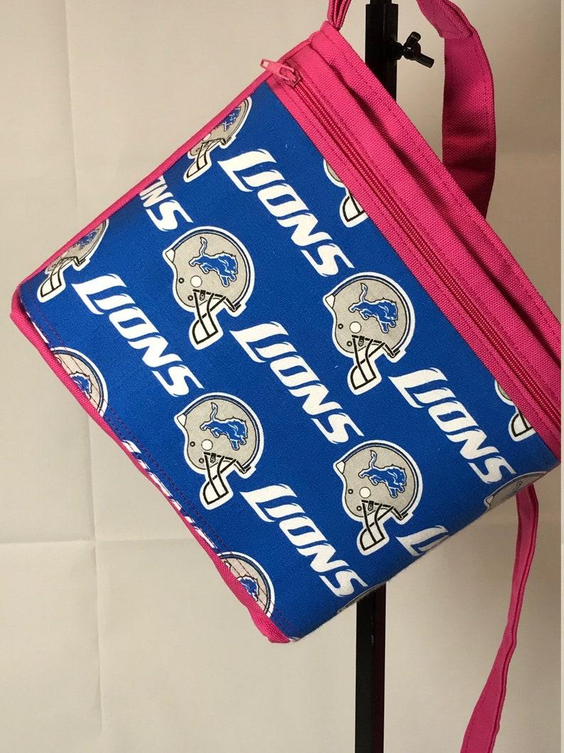 CrossbodyShoulder Bag Purse Detroit LionsMedium PursePink PurseCanvas PurseShoulderHand BagFully Lined BagPink Kiss PursesHandmade