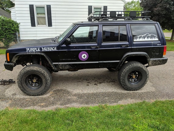 Jeep XJ Cherokee mountains decal set