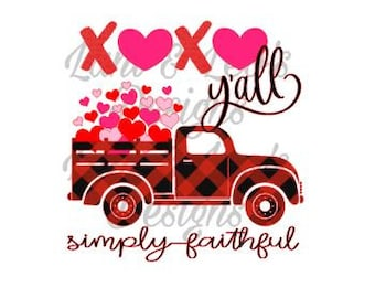 d4a13a97 XOXO yall truck with hearts simply grateful - SVG