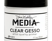 Dina Wakley by Ranger Clear Gesso 4 oz Jar Primer for Decoupage, Painting, Canvas Art, Mixed Media, Collage