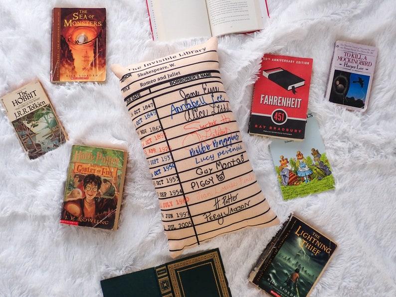 Vintage Library Card Book Return Card Throw Pillow Nursery image 1