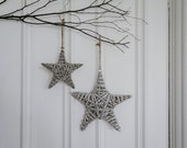 Grey Wash Willow Hanging Wicker Rustic Star with Glitter Baubles