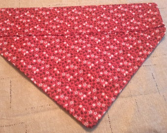 Red Floral Over Collar Bandana