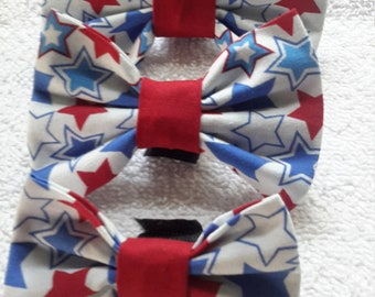 Solid Blue & Red Stars bowtie
