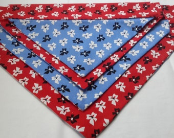 Bows over the collar in red & blue