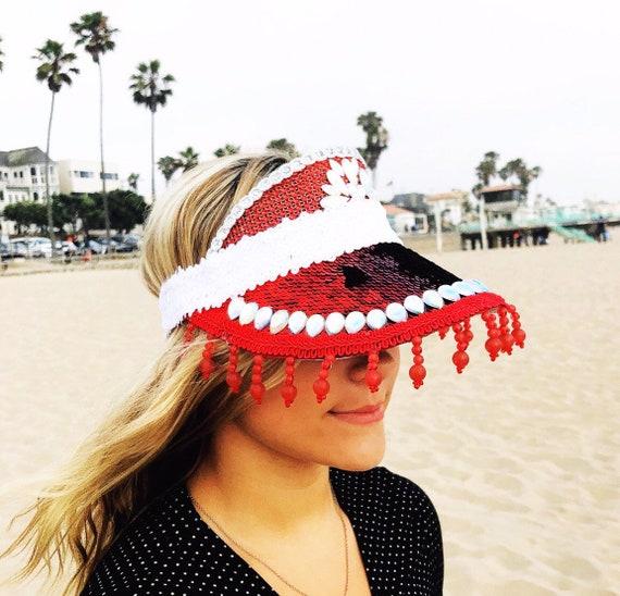 Festival Sun Visor Pool Visor Accessory Red Beach Visor Red Personalized Sun Visor Red Retro Visor