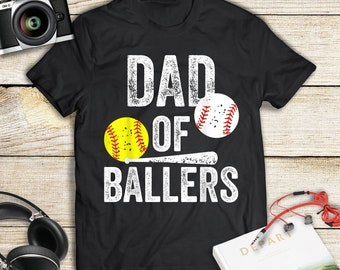 ca8a0403b Dad of Ballers T Shirt Funny Baseball Softball Gift from Son Father Day  Shirt