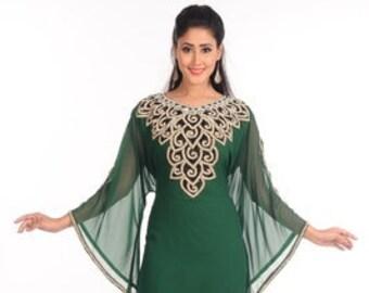 6f8349961b Green zari work stones   beads embellish georgette islamic style arabian  maxi partywear kaftan