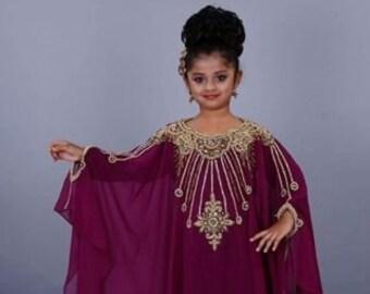 03ee6ae5ac Kids Maroon Handwork Kaftan for Party Wedding Moroccan Caftan Dress