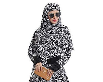 dfbbbdcfd2 Women s Abaya with Foral Embroidery and Black Diamond Stone Work(Black and  White Free Size)