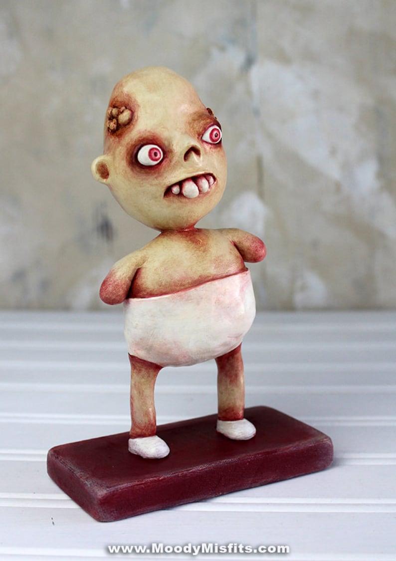 Creepy Art Sculpture Spooky Statue Figurine Handmade Clay Figurines Creepy Dolls Halloween Home Decor Handmade Clay Art Strange Gifts