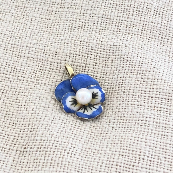 Antique Victorian 14k Gold and Enamel Pansy Charm