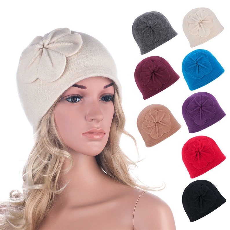 104480b3675ad Womens 1920s Winter Wool Cap Beret Beanie Bucket Floral Hat