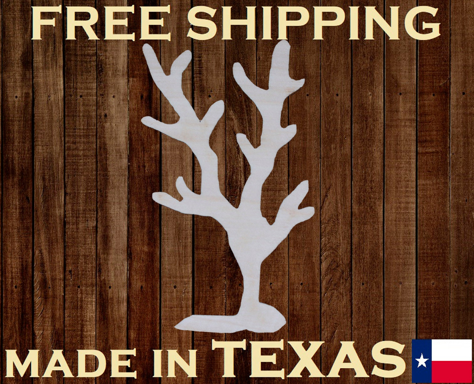 CORAL Unfinished 3mm Thick Wood Laser Cut Out Cutout Shape Crafts Sign ALL SIZES