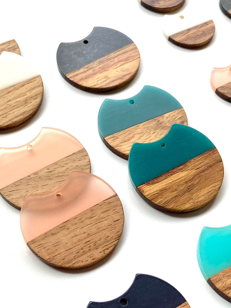 4 Acrylic /& Wood 25 or 36mm Round Hoops Circle Pendants Beads Charms wConnector Loop Hole Earring Earrings Findings Jewelry Making Craft