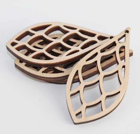 Unfinished Maple Laser Cut Earring Supply Wood Drop 4 Pieces Flat Back Small Pendant Craft Supplies Potion Small Wood Shape