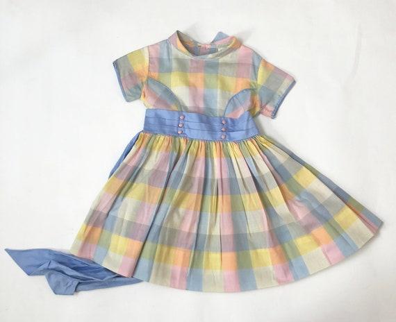 Vintage 60s Pastel Plaid Toddler Dress Cinderella… - image 8