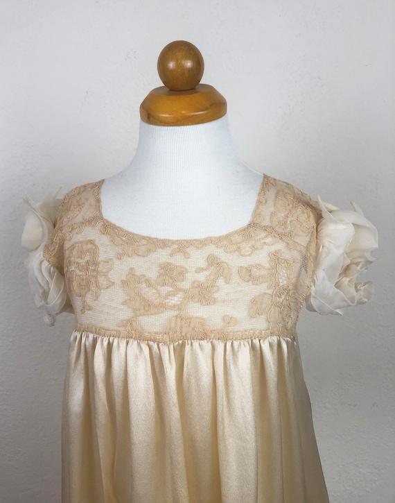 Vintage 20s 30s Baby Dress Gown Ecru Silk Charmeu… - image 6