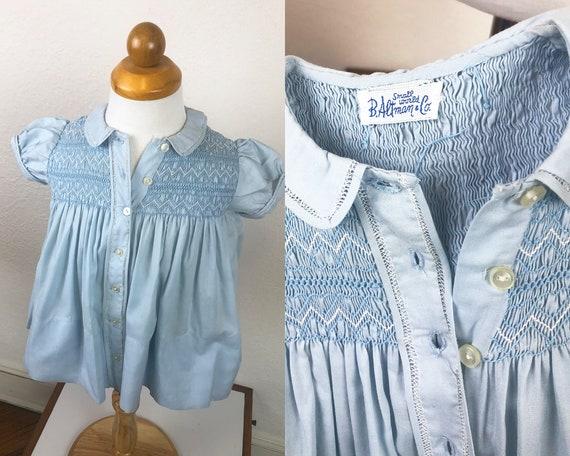 Vintage 50s Baby Dress Pale Blue Smocking Button D