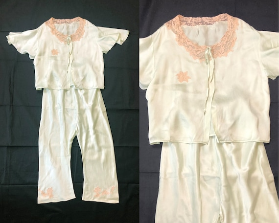 Rare Vintage 30s 40s Child's Silk Pajama Set Pale