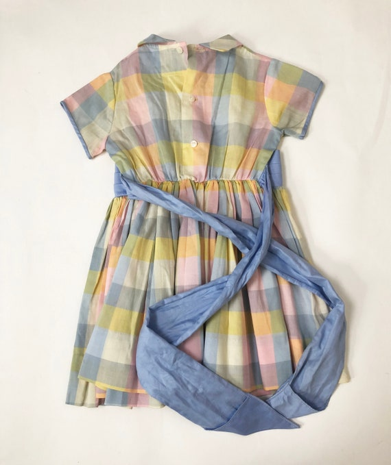 Vintage 60s Pastel Plaid Toddler Dress Cinderella… - image 5