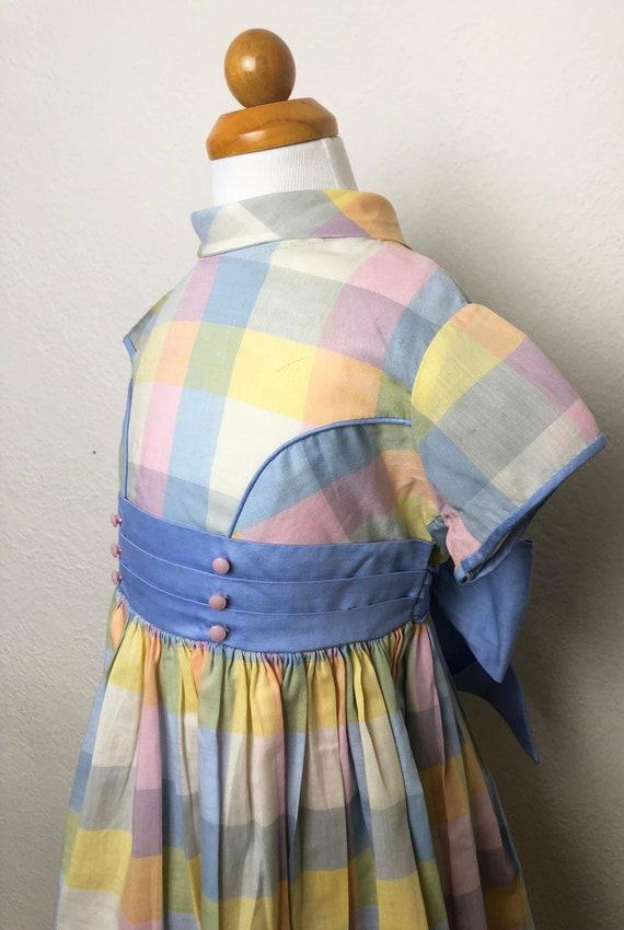 Vintage 60s Pastel Plaid Toddler Dress Cinderella… - image 3