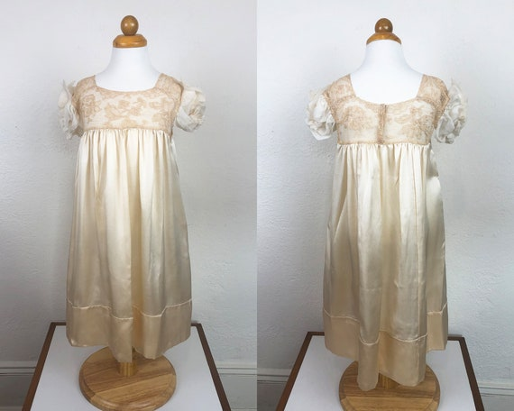 Vintage 20s 30s Baby Dress Gown Ecru Silk Charmeus
