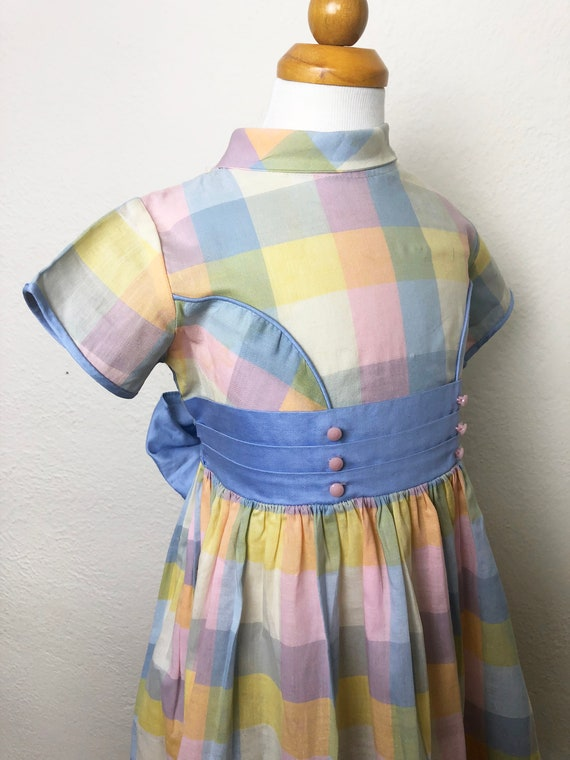 Vintage 60s Pastel Plaid Toddler Dress Cinderella… - image 4