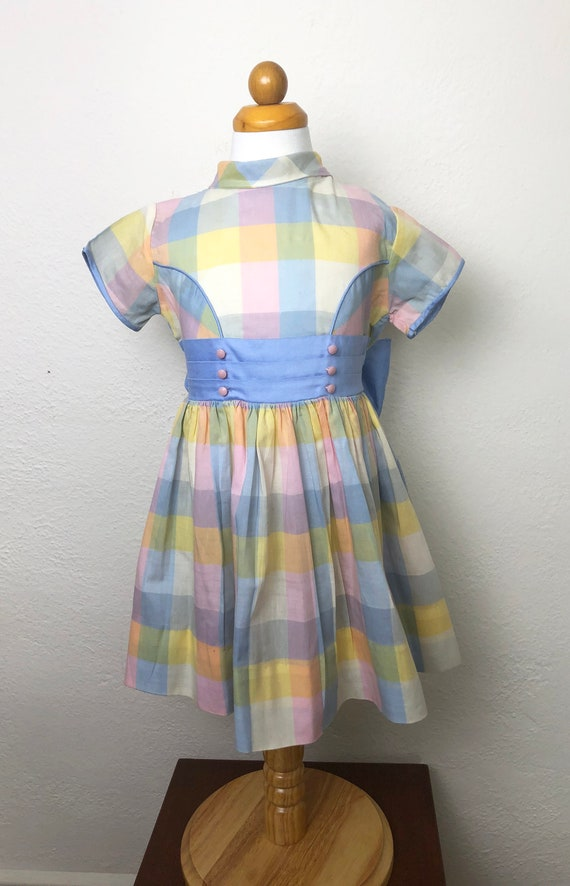 Vintage 60s Pastel Plaid Toddler Dress Cinderella… - image 2