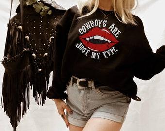 Cowboys Are Just My Type Western Halloween Crewneck Sweatshirt - Vampire Graphic Tee