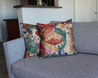 Southwest Abstract Pillow Covers, Set of 2 Decorative Pillow Cases, Refugee Made Home Decor
