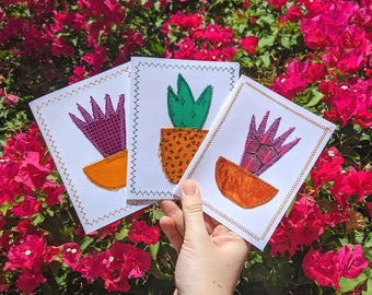 Succulent Cards, 3 Pack Blank Greeting Cards, Bright Colorful Succulent Cards, Refugee Made Cards