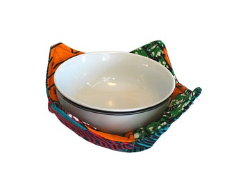 Bowl Cozy, Microwave Cover for Bowl, Tribal Print Kitchen Accessories, Refugee Made Hot Pad