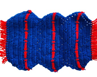 Crochet Placemat Set of Two, Blue and Red Hand Crocheted Place Mats