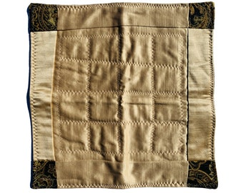 Quilted Centerpiece Mat, Champagne Color Reversible Placemat, Refugee Made Table Decor
