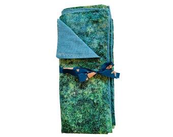 Cloth Napkins Set, Set of 2 Blue and Green Napkins, Handmade - Eco Friendly - Reusable - Refugee Made