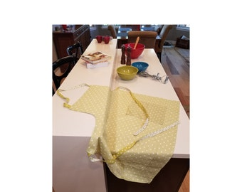 Pale Green Polka Dot Apron with Contrasting Ribbon Times - Refugee Made - Gift for Her