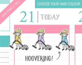 058 - Hoovering Planner Stickers, Personalised Stickers, Vacuuming Stickers, Chores Stickers, Cleaning Stickers, Hobonichi Stickers