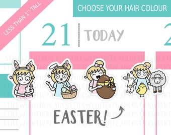 042 - Easter Planner Stickers, Personalised Stickers, Spring Stickers, Bunny Stickers, Chick Stickers, Hobonichi Stickers