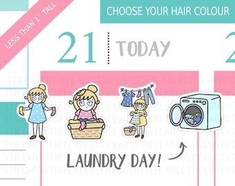 065 - Laundry Day Planner Stickers, Personalised Stickers, Washing Stickers, Ironing Stickers, Chores Stickers, Hobonichi Stickers