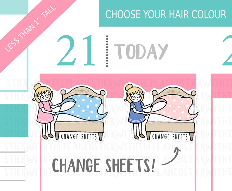 Change Sheets Planner Stickers Personalised Stickers Chores image 0