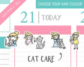 015 - Cat Planner Stickers, Personalised Stickers, Cat Lady Stickers, Vet Stickers, Character Stickers, Cute Stickers, Hobonichi Stickers