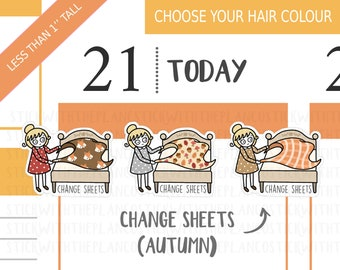 139 - Change Sheets Fall Stickers, Personalised Stickers, Fall Stickers, Bedding Stickers, Fall Stickers, Hobonichi Sticker, Chores Stickers