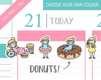040 - Donuts Planner Stickers, Personalised Stickers, Food Stickers, Cute Stickers, Character Stickers, Planner Stickers, Hobonichi Stickers