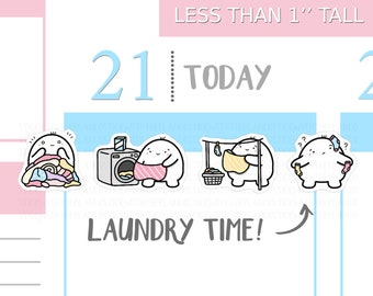 S_009 | Laundry Planner Stickers, Chores Stickers, Cleaning Stickers, Washing Stickers, Kawaii Stickers, Hobonichi Stickers