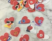 BT21 Character Heart Stickers (40 Small Stickers)